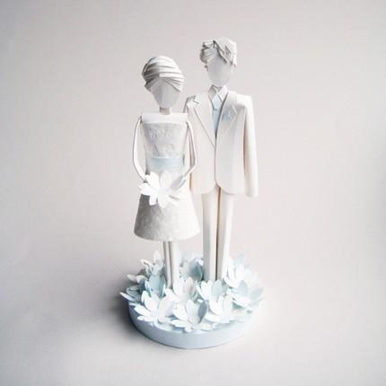 Artist Wedding Cake Toppers : Paper Art: Wedding Cake Toppers White Cabana