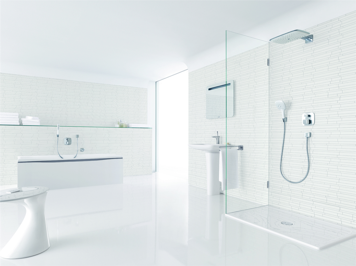 all white bathroom hansgrohe white cabana 10082
